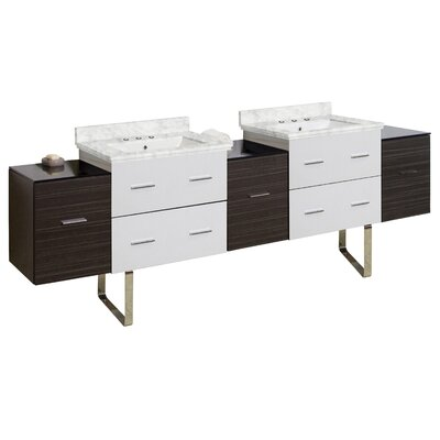Phoebe Drilling Floor Mount 89 Double Rectangle Bathroom Vanity Set Top Finish: Bianca Carara, Sink Finish: White, Faucet Mount: 8 Centers
