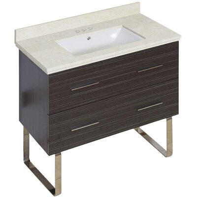 Phoebe Marble Top Drilling Floor Mount 36 Single Bathroom Vanity Set Base Finish: Dawn Gray, Top Finish: Beige, Sink Finish: White