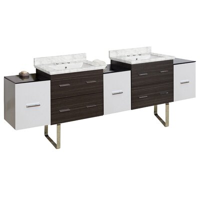 Phoebe Drilling Floor Mount 90 Double Bathroom Vanity Set Top Finish: Bianca Carara, Sink Finish: White, Faucet Mount: 4 Centers