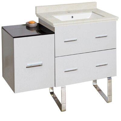 Phoebe Handles Drilling Floor Mount 38 Single Right Bathroom Vanity Set Base Finish: White, Top Finish: Beige, Sink Finish: White