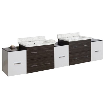 Phoebe Drilling Wall Mount 90 Double Bathroom Vanity Set with Handles Top Finish: Bianca Carara, Sink Finish: White, Faucet Mount: 8 Centers