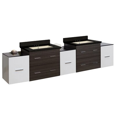 Phoebe Drilling Wall Mount 90 Double Bathroom Vanity Set Sink Finish: Biscuit