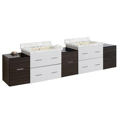 Phoebe Drilling Wall Mount 89 Rectangle Double Bathroom Vanity Set Base Finish: White/Dawn Gray, Top Finish: Bianca Carara, Sink Finish: Biscuit