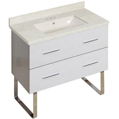 Phoebe Marble Top Drilling Floor Mount 36 Single Bathroom Vanity Set Base Finish: White, Top Finish: Beige, Sink Finish: Biscuit