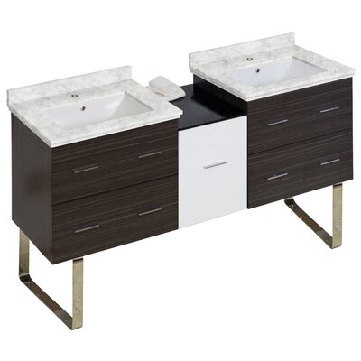 Phoebe Modern Handles Drilling Floor Mount 62 Double Bathroom Vanity Set Top Finish: Bianca Carara, Sink Finish: White
