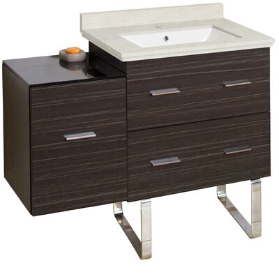 Phoebe Handles Drilling Floor Mount 38 Single Right Bathroom Vanity Set Base Finish: Dawn Gray, Top Finish: Beige, Sink Finish: White