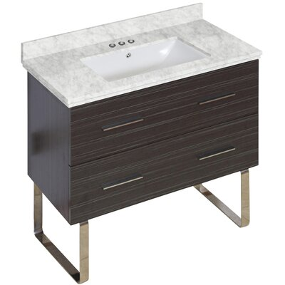 Phoebe Marble Top Drilling Floor Mount 36 Single Bathroom Vanity Set Base Finish: Dawn Gray, Top Finish: Bianca Carara, Sink Finish: White