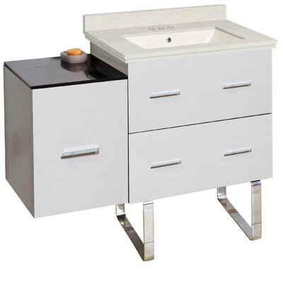 Phoebe Modern Drilling Floor Mount 38 Single Right Bathroom Vanity Set Base Finish: Dawn Gray, Top Finish: Bianca Carara, Sink Finish: Biscuit