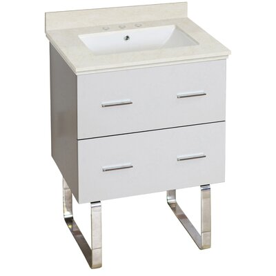 Phoebe Drilling Floor Mount 24 Single Rectangle Bathroom Vanity Set Top Finish: Beige, Sink Finish: White, Faucet Mount: 8 Centers