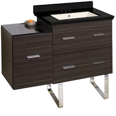 Phoebe Drilling Floor Mount 38 Single Right Bathroom Vanity Set Base Finish: Dawn Gray, Sink Finish: Biscuit