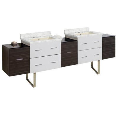 Phoebe Drilling Floor Mount 89 Double Rectangle Bathroom Vanity Set Top Finish: Bianca Carara, Sink Finish: Biscuit, Faucet Mount: 8 Centers