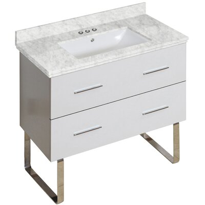 Phoebe Marble Top Drilling Floor Mount 36 Single Bathroom Vanity Set Base Finish: White, Top Finish: Bianca Carara, Sink Finish: White