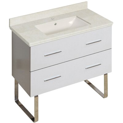 Phoebe Modern Drilling Floor Mount 36 Single Bathroom Vanity Set Base Finish: White, Top Finish: Beige, Sink Finish: Biscuit