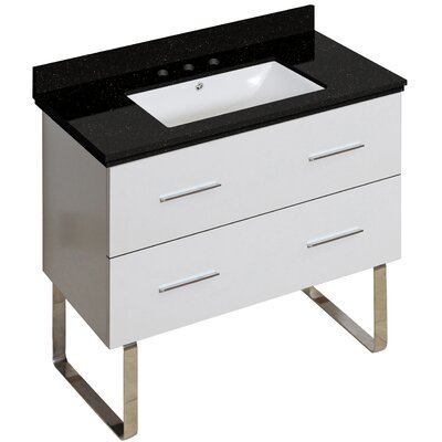 Phoebe Handle Drilling Floor Mount 36 Single Bathroom Vanity Set Base Finish: White, Sink Finish: White, Faucet Mount: 8 Centers