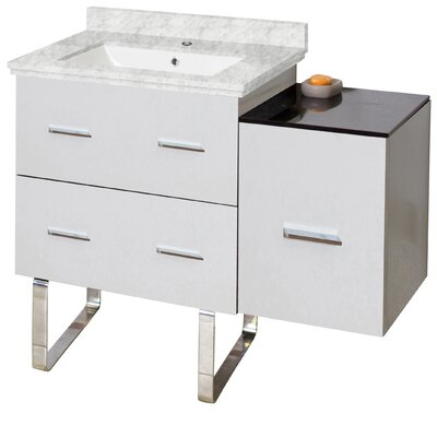Phoebe Modern Handles Drilling Floor Mount 38 Single Bathroom Vanity Set Base Finish: White, Top Finish: Bianca Carara, Sink Finish: White
