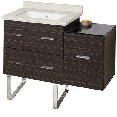 Phoebe Modern Handles Drilling Floor Mount 38 Single Bathroom Vanity Set Base Finish: Dawn Gray, Top Finish: Beige, Sink Finish: White
