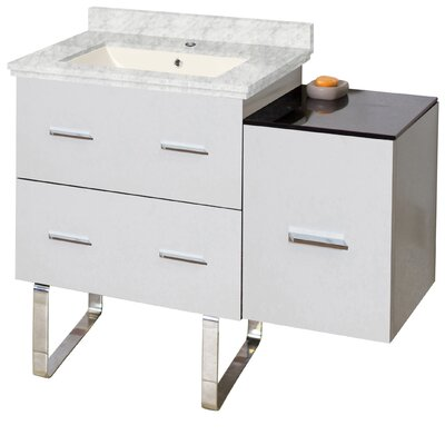 Phoebe Modern Handles Drilling Floor Mount 38 Single Bathroom Vanity Set Base Finish: White, Top Finish: Bianca Carara, Sink Finish: Biscuit