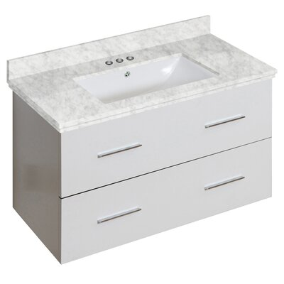 Phoebe Drilling Wall Mount 36 Rectangle Single Bathroom Vanity Set with Handles Base Finish: White, Top Finish: Bianca Carara, Sink Finish: White