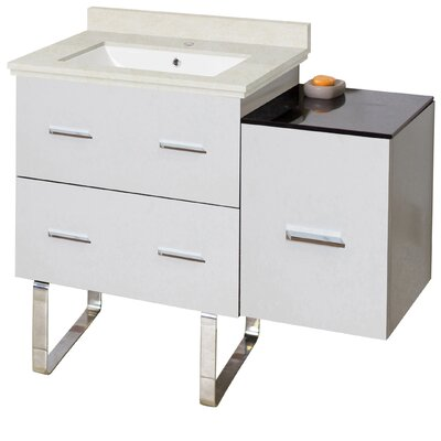 Phoebe Modern Handles Drilling Floor Mount 38 Single Bathroom Vanity Set Base Finish: White, Top Finish: Beige, Sink Finish: White