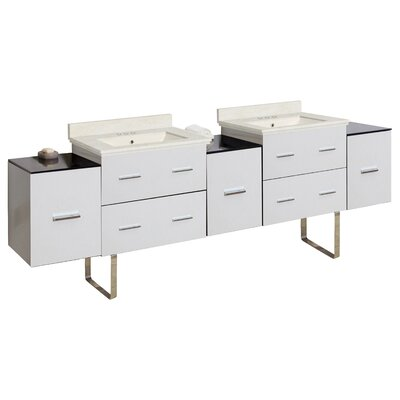 Phoebe Modern Handle Drilling Floor Mount 89 Double Bathroom Vanity Set Base Finish: White, Top Finish: Beige, Sink Finish: Biscuit