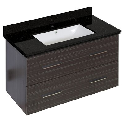Phoebe Drilling Wall Mount 36 Single Bathroom Vanity Set Base Finish: Dawn Gray, Sink Finish: White