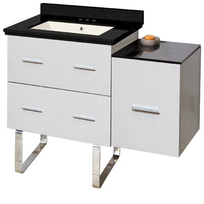 Phoebe Drilling Floor Mount 38 Single Left Bathroom Vanity Set Base Finish: White, Sink Finish: Biscuit