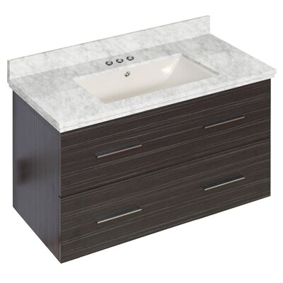 Phoebe Drilling Wall Mount 36 Rectangle Single Bathroom Vanity Set with Handles Base Finish: Dawn Gray, Top Finish: Bianca Carara, Sink Finish: Biscuit