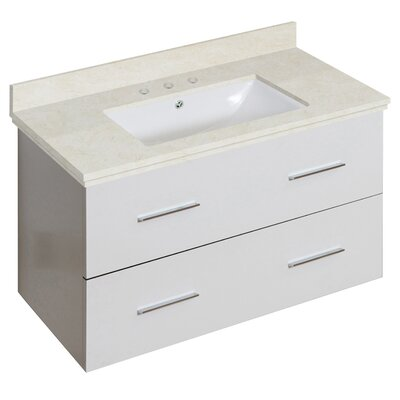 Phoebe Drilling Wall Mount 36 Single Bathroom Vanity Set with Handles Base Finish: White, Top Finish: Beige, Sink Finish: White