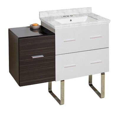 Phoebe Modern Handles 3 Drawers Drilling Floor Mount 38 Single Bathroom Vanity Set Top Finish: Bianca Carara, Sink Finish: White