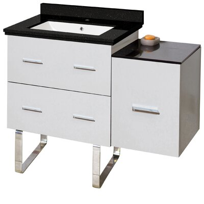 Phoebe Handles Drilling Floor Mount 38 Single Bathroom Vanity Set Base Finish: White, Sink Finish: White, Faucet Mount: Single Hole