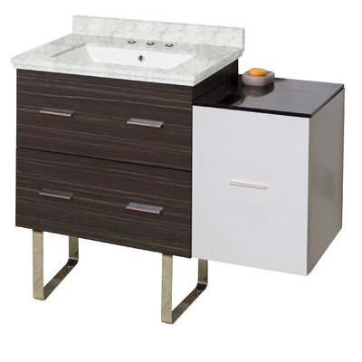 Phoebe Drilling Floor Mount 38 Single Rectangle Wood Frame Bathroom Vanity Set Base Finish: White/Dawn Gray, Top Finish: Bianca Carara, Sink Finish: White