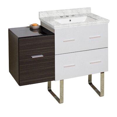 Phoebe 3 Drawers Drilling Floor Mount 38 Single Rectangle Bathroom Vanity Set Top Finish: Bianca Carara, Sink Finish: White