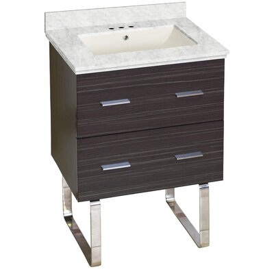 Phoebe Marble Top Drilling Floor Mount 24 Single Bathroom Vanity Set Top Finish: Bianca Carara, Sink Finish: Biscuit, Faucet Mount: 4 Centers