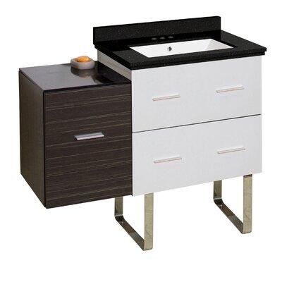 Phoebe Handles Drilling Floor Mount 38 Single Bathroom Vanity Set Sink Finish: White