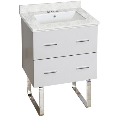 Phoebe Drilling Floor Mount 24 Single Rectangle Bathroom Vanity Set Top Finish: Bianca Carara, Sink Finish: White, Faucet Mount: 4 Centers