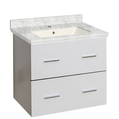 Phoebe Drilling Wall Mount 24 Rectangle Single Bathroom Vanity Set Top Finish: Bianca Carara, Sink Finish: Biscuit, Faucet Mount: Single Hole