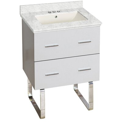 Phoebe Drilling Floor Mount 24 Single Rectangle Bathroom Vanity Set Top Finish: Bianca Carara, Sink Finish: Biscuit, Faucet Mount: 4 Centers
