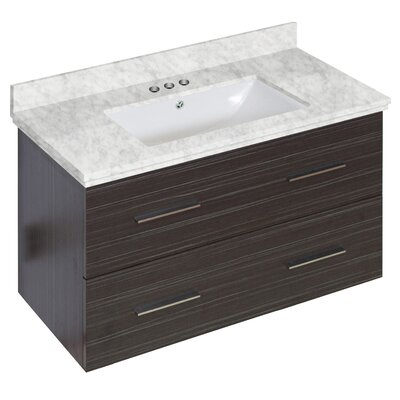 Phoebe Drilling Wall Mount 36 Rectangle Single Bathroom Vanity Set with Handles Base Finish: Dawn Gray, Top Finish: Bianca Carara, Sink Finish: White