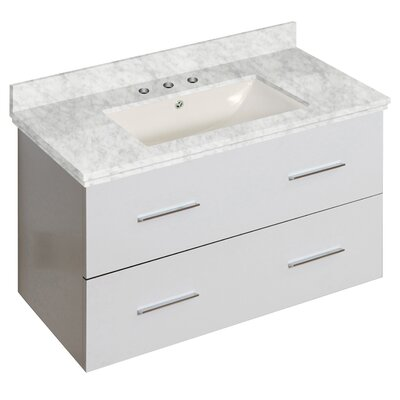 Phoebe Drilling Wall Mount 36 Single Bathroom Vanity Set with Handles Base Finish: White, Top Finish: Bianca Carara, Sink Finish: Biscuit