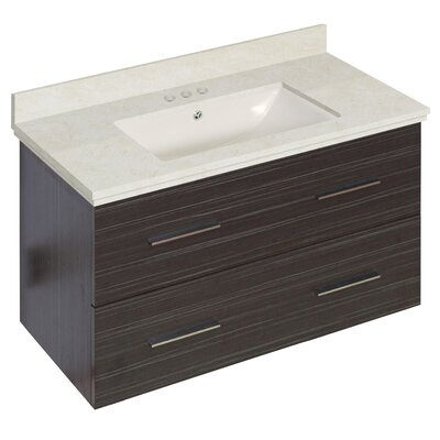 Phoebe Drilling Wall Mount 36 Rectangle Single Bathroom Vanity Set with Handles Base Finish: Dawn Gray, Top Finish: Beige, Sink Finish: Biscuit