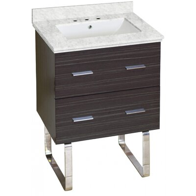 Phoebe Marble Top Drilling Floor Mount 24 Single Bathroom Vanity Set Top Finish: Bianca Carara, Sink Finish: White, Faucet Mount: 8 Centers