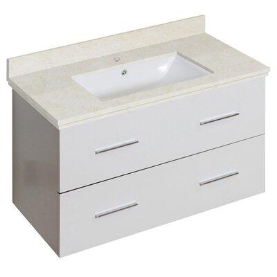 Phoebe Drilling Wall Mount 36 Rectangle Single Bathroom Vanity Set Base Finish: White, Top Finish: Beige, Sink Finish: White