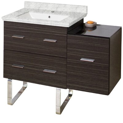 Phoebe Modern Handles Drilling Floor Mount 38 Single Bathroom Vanity Set Base Finish: Dawn Gray, Top Finish: Bianca Carara, Sink Finish: White