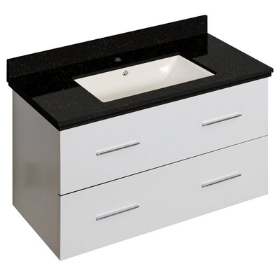 Phoebe Drilling Wall Mount 36 Single Bathroom Vanity Set Base Finish: White, Sink Finish: Biscuit
