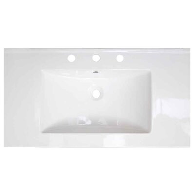 Flair Ceramic 36.75 Single Bathroom Vanity Top Faucet Mount: 4 Centers