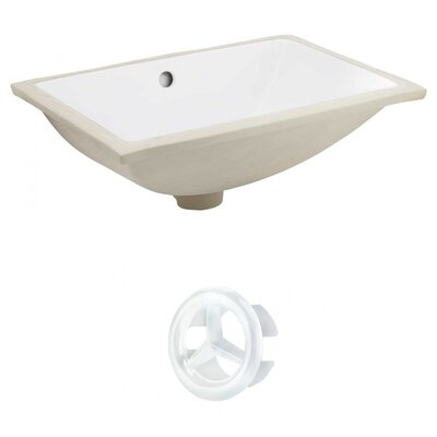Rectangular Undermount Bathroom Sink with Overflow Drain Finish: White