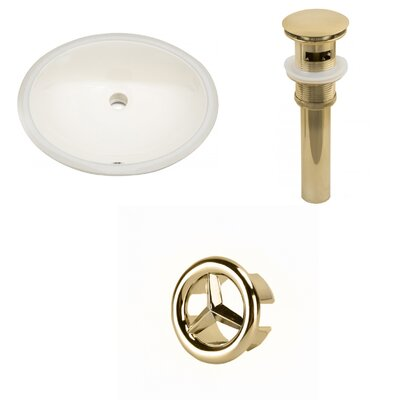 Oval Undermount Bathroom Sink with Overflow Drain Finish: Gold