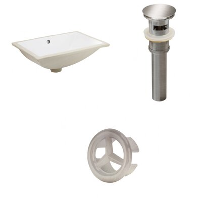 Rectangular Undermount Bathroom Sink with Overflow Drain Finish: Brushed Nickel