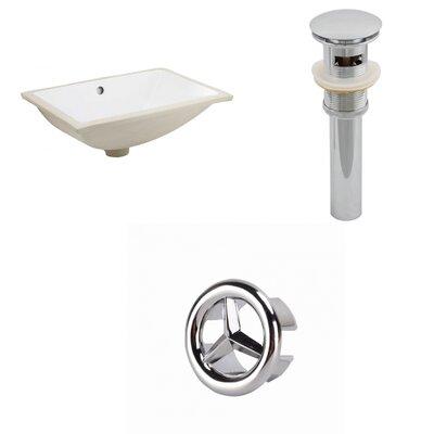 Ceramic Rectangular Undermount Bathroom Sink with Overflow Drain Finish: Chrome