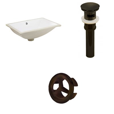 Ceramic Rectangular Undermount Bathroom Sink with Overflow Drain Finish: Oil Rubbed Bronze